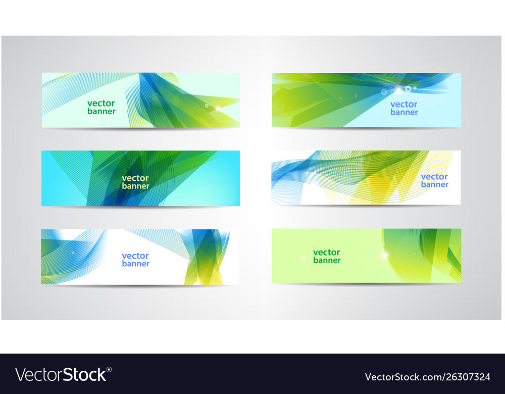 Set abstract green and blue banners