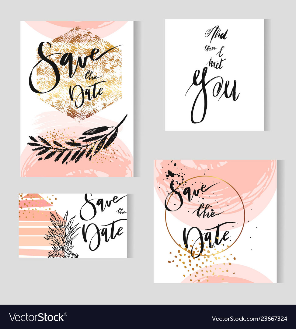 Set of perfect wedding templates in goldenpastel