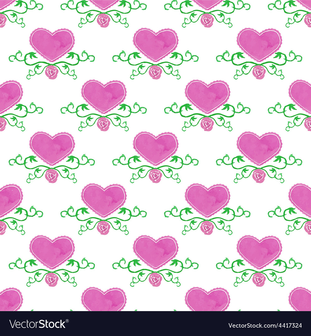 Watercolor seamless pattern with victorian heart