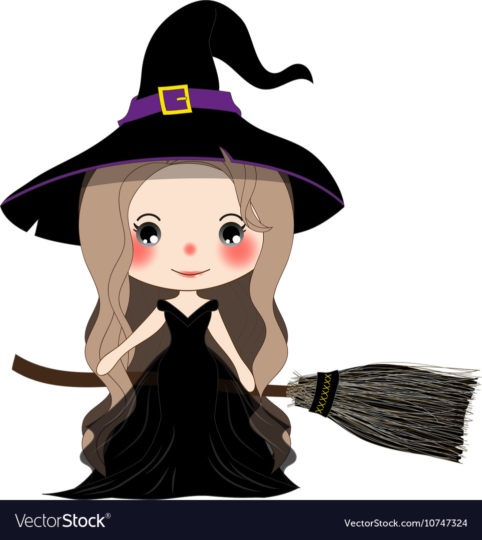 Witch with Hat Flying on Broom