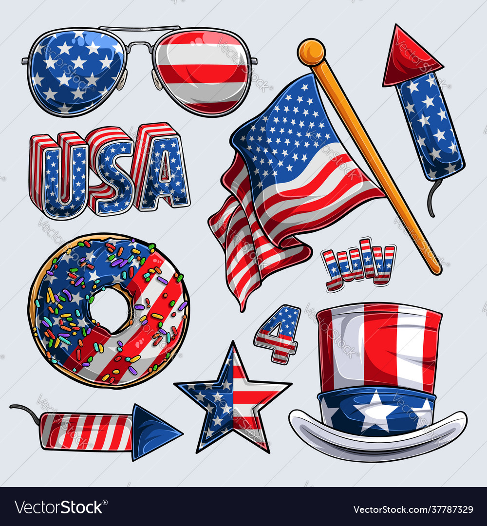 4th july elements collection independence day
