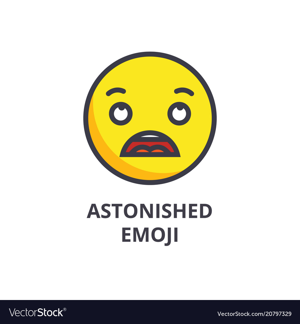 Astonished emoji line icon sign vector image