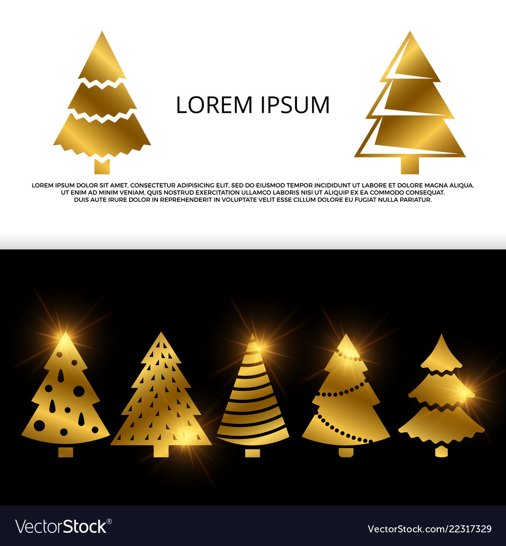 Banner or flyer with golden christmas tree