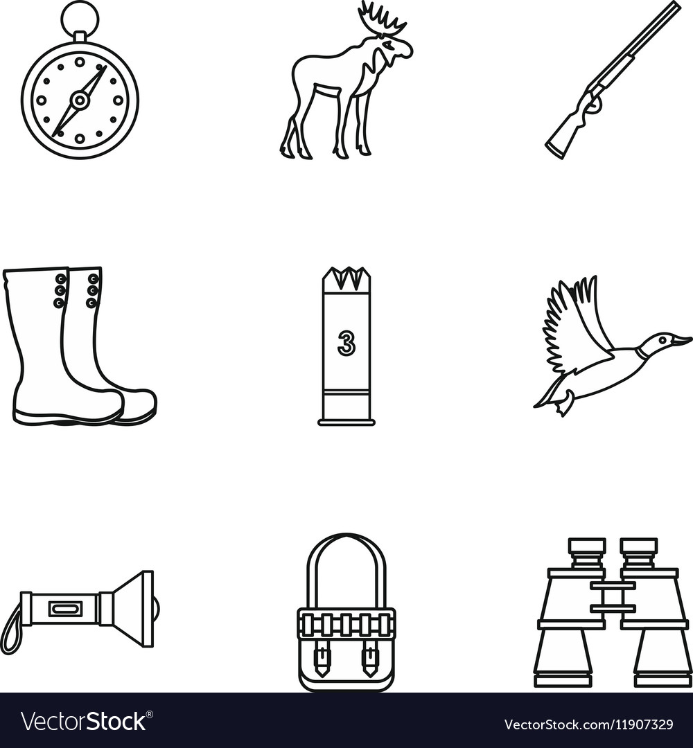 Bird hunting icons set outline style