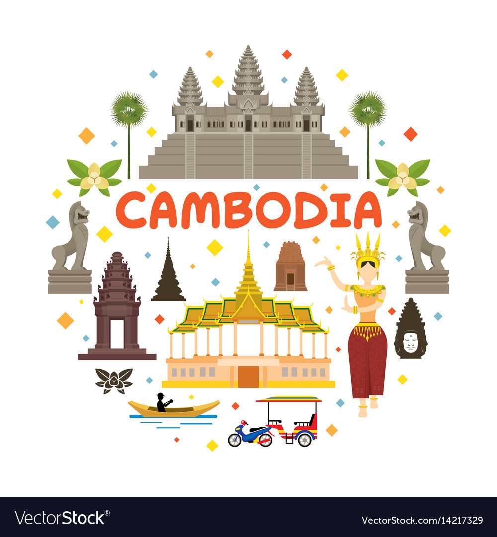 Cambodia travel attraction label