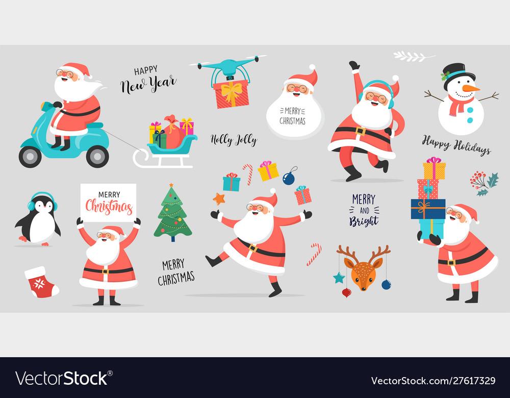 Collection happy santa clauses dancing