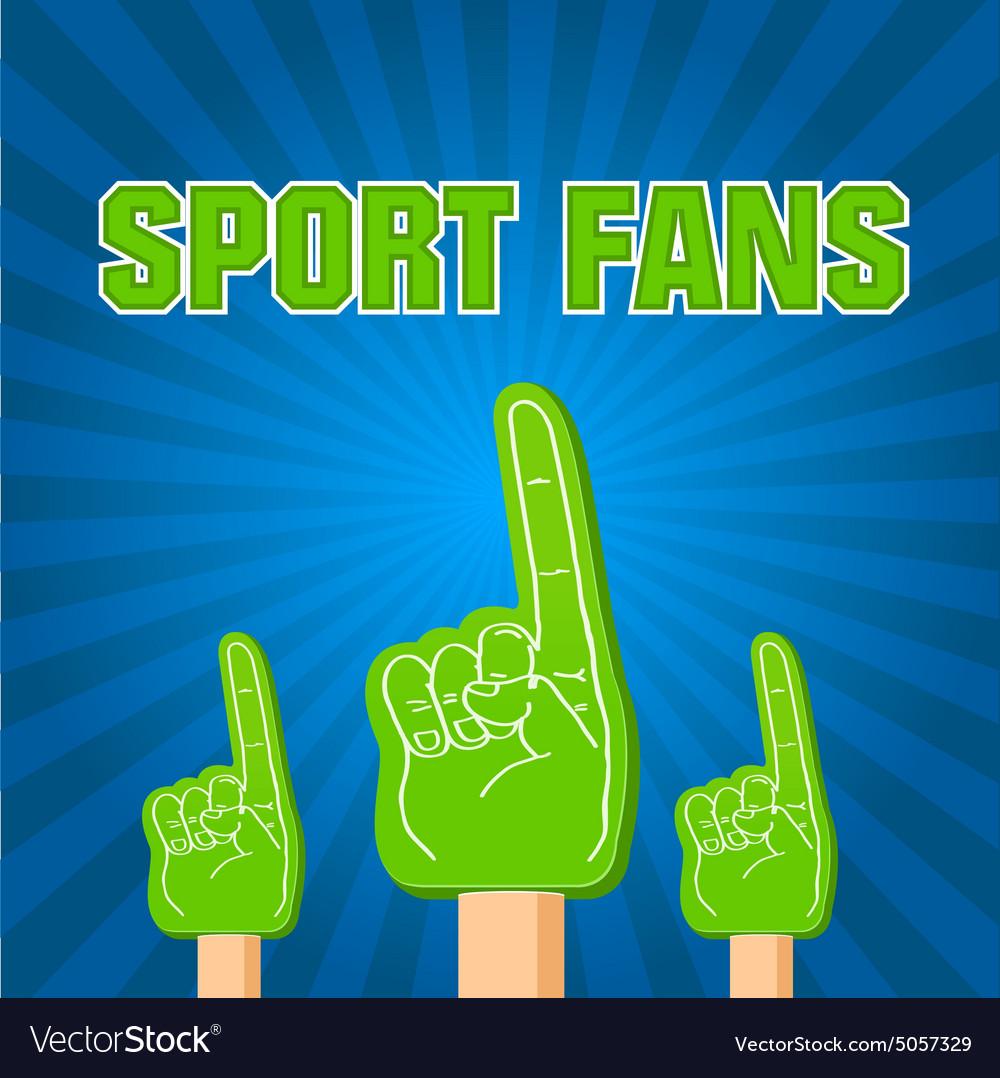 Color sport fans foam fingers on the retro