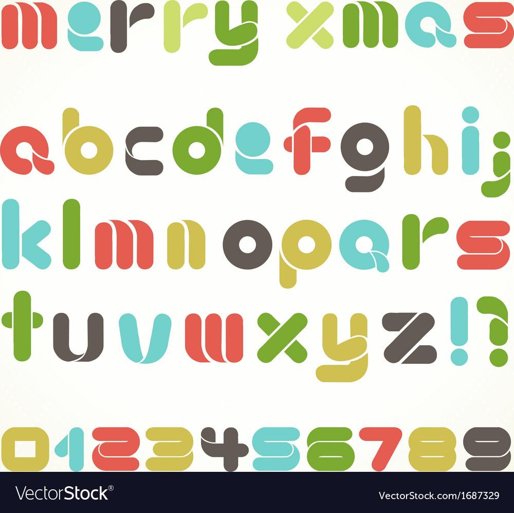 Christmas Alphabet.Colorful Retro Christmas Alphabet