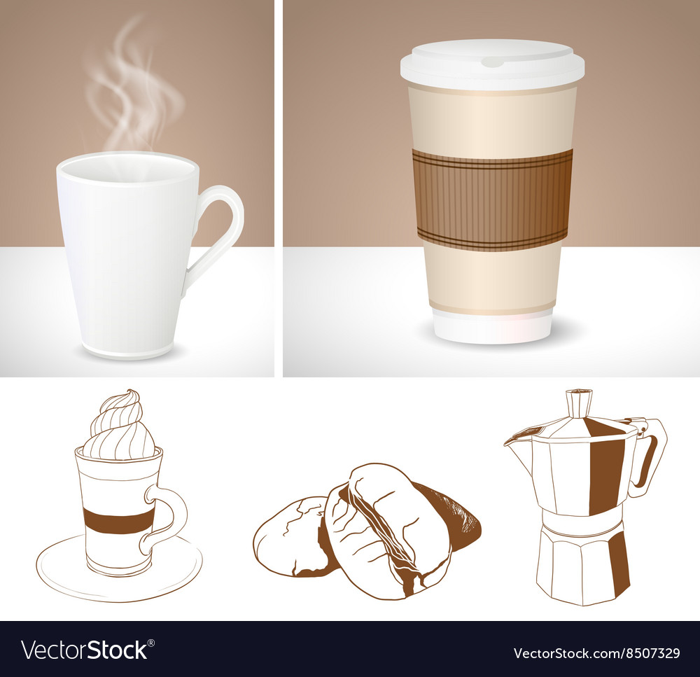 drawings and graphics of coffee cups royalty free vector