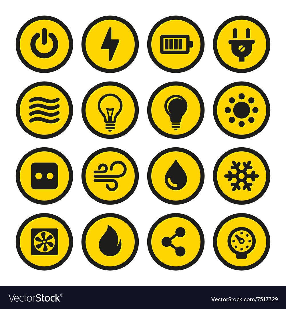 Electric Icons Set Yellow Signs