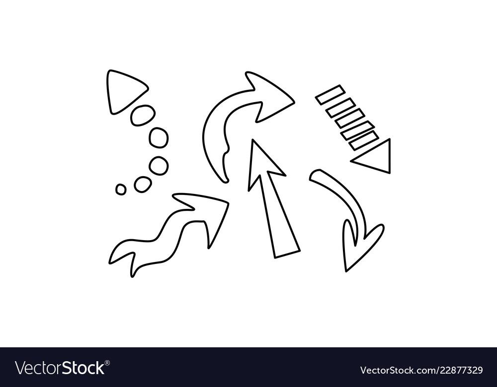Hand drawn arrows set on a