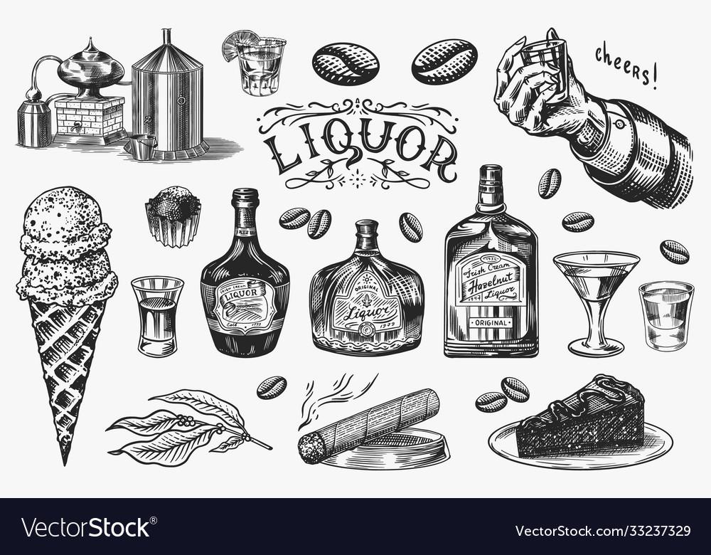 Liquor set bottle and shot and distilled alcohol