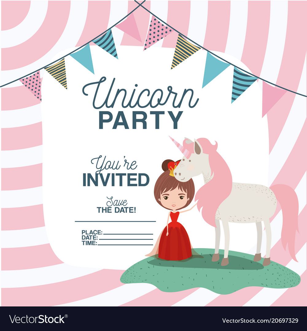 Princess with unicorn invitation card royalty free vector princess with unicorn invitation card vector image stopboris Choice Image