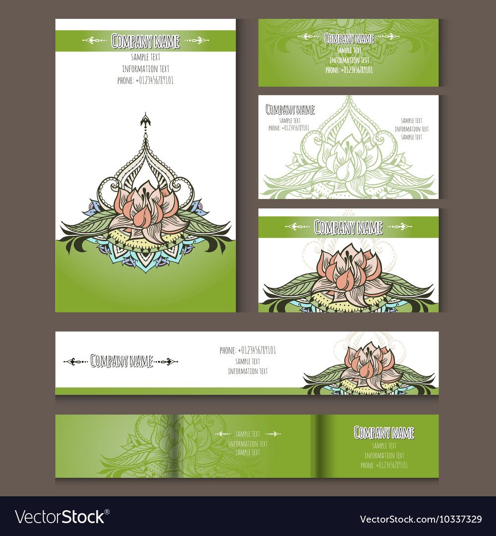 Set of templates for corporate style with lotus