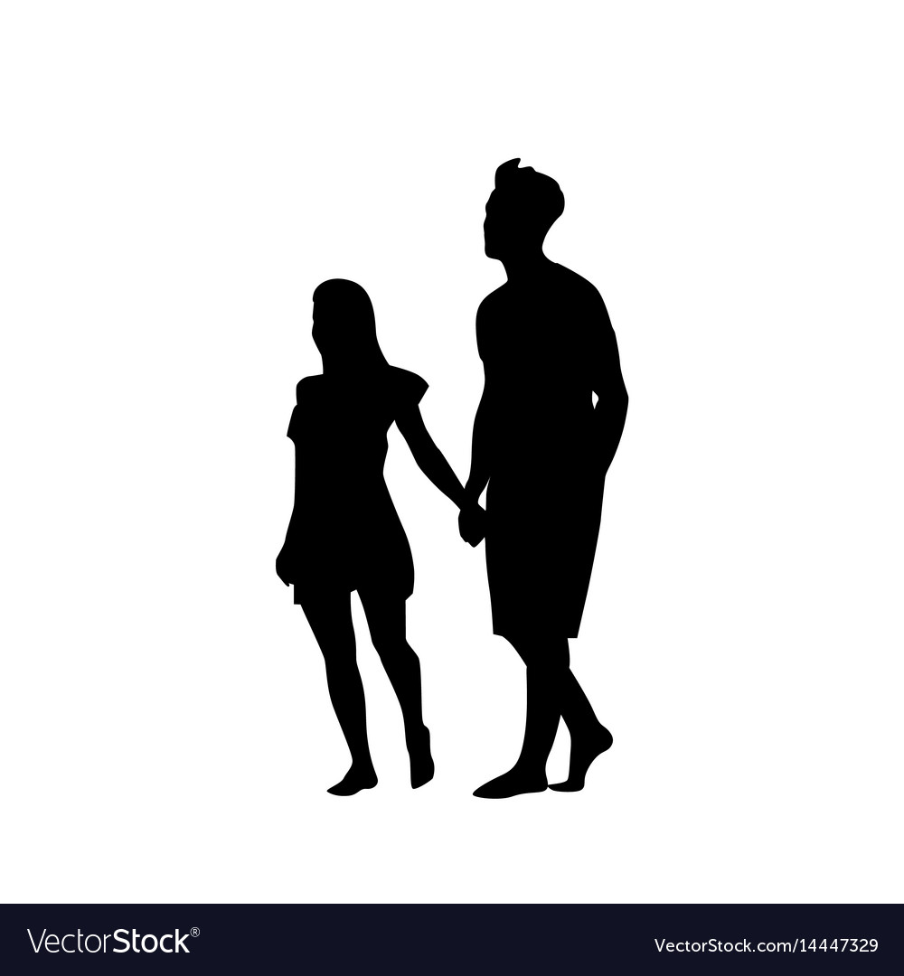 silhouette couple man and woman walk holding hands