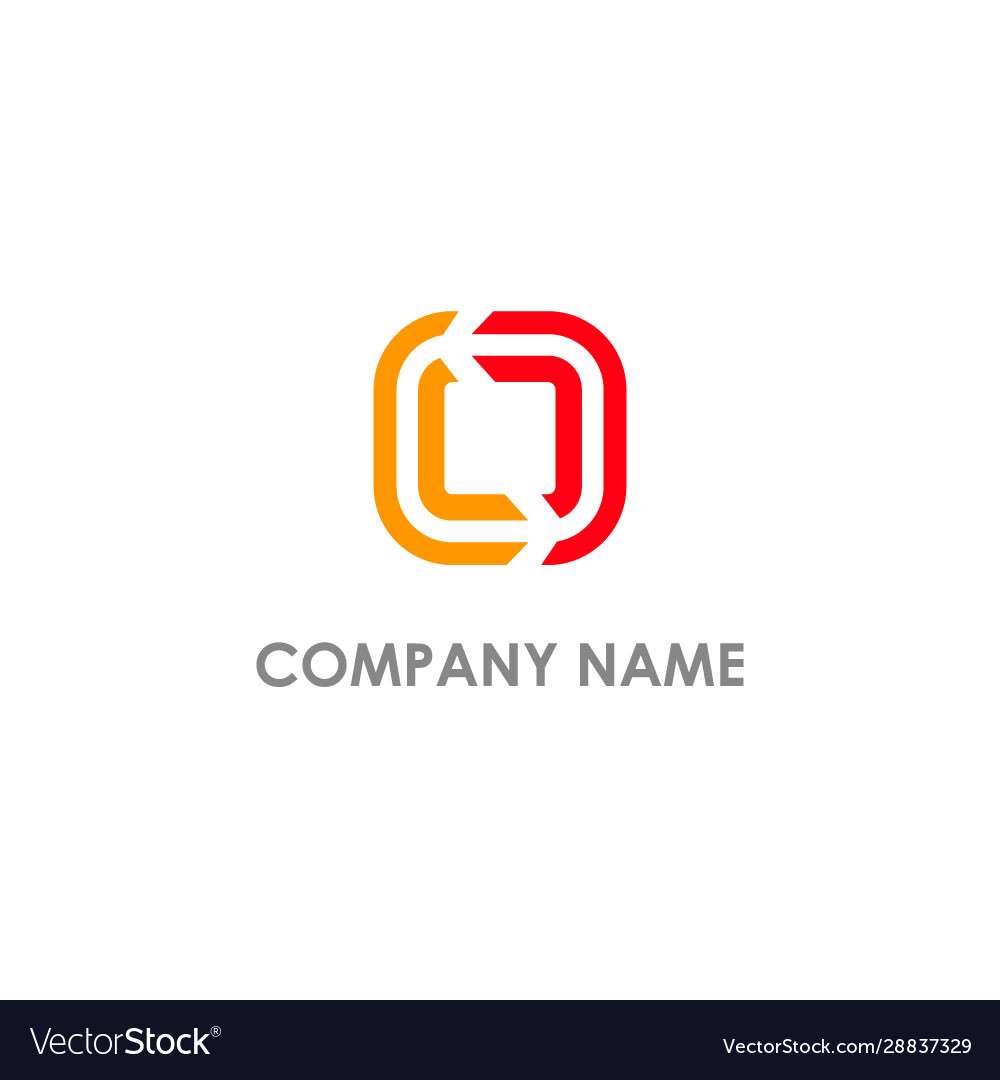Square line circle colored company logo