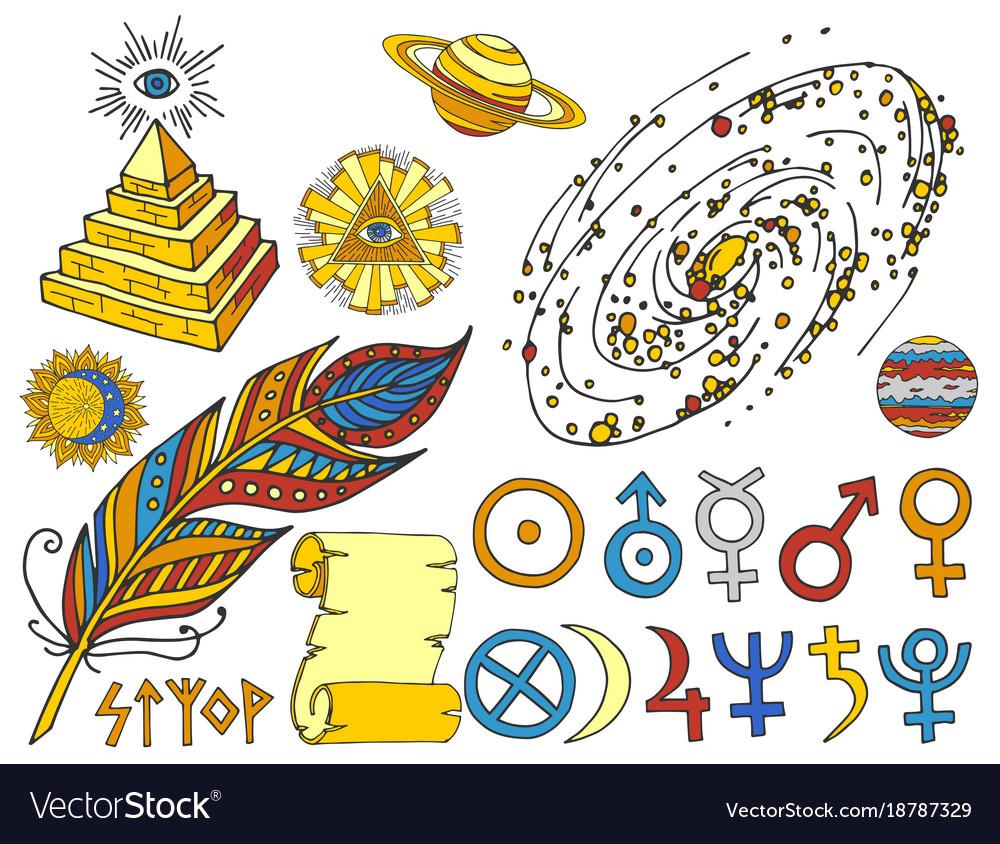 Trendy mystic and magic esoteric symbols sketch