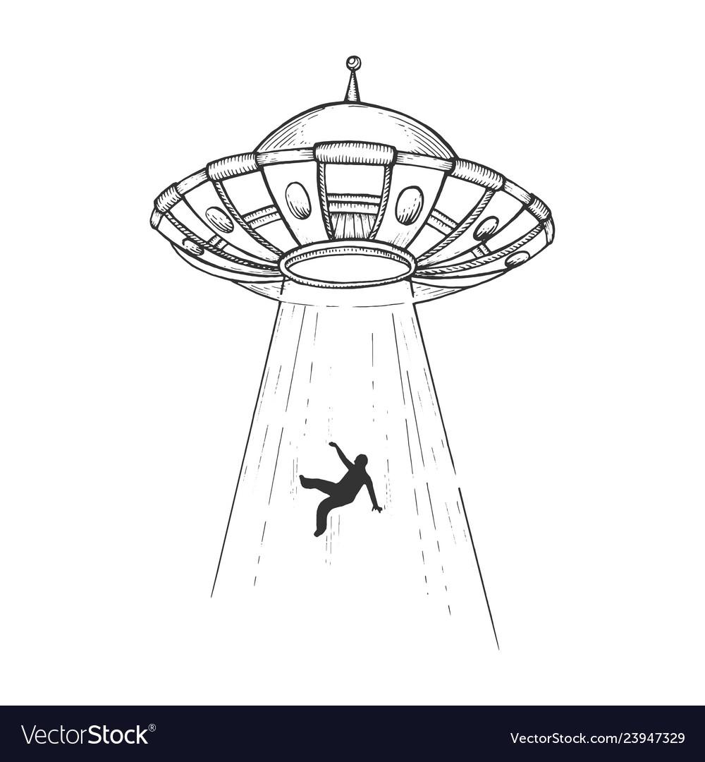 Ufo kidnaps human engraving
