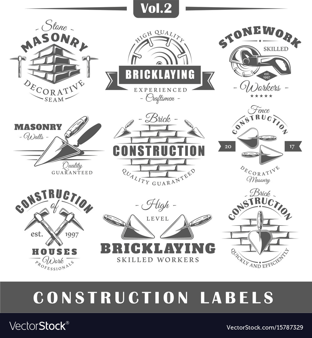 Vintage construction labels