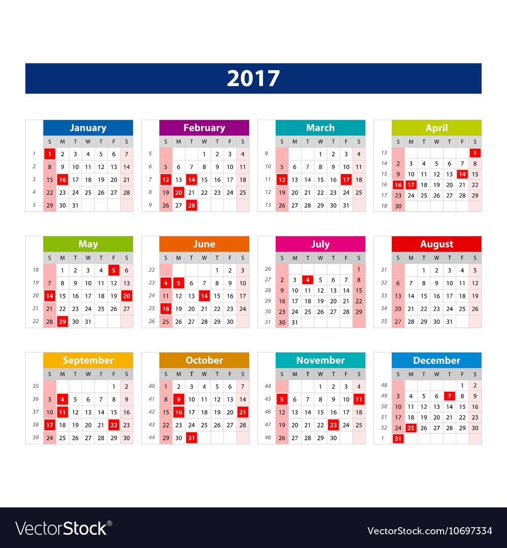 2017 Calendar Holidays Usa Template Of Color Vector Image