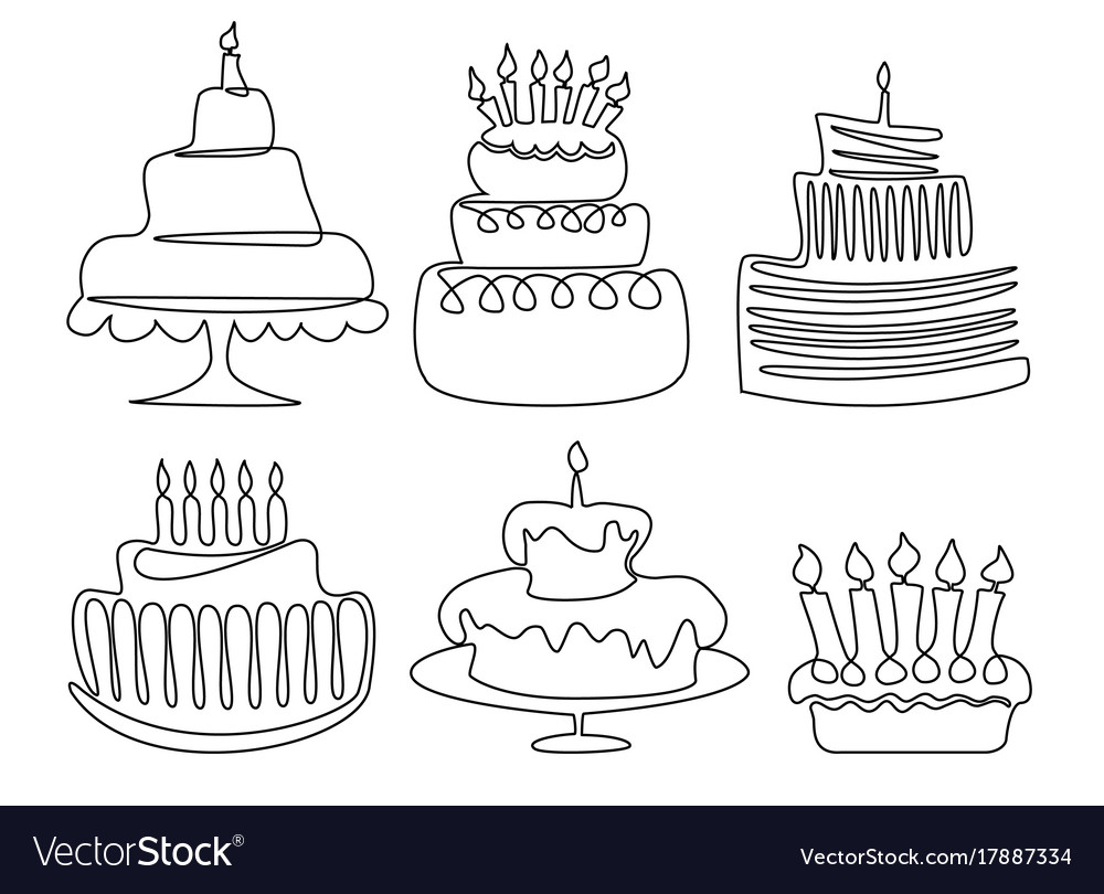 Fantastic Birthday Cake Drawing Royalty Free Vector Image Funny Birthday Cards Online Alyptdamsfinfo
