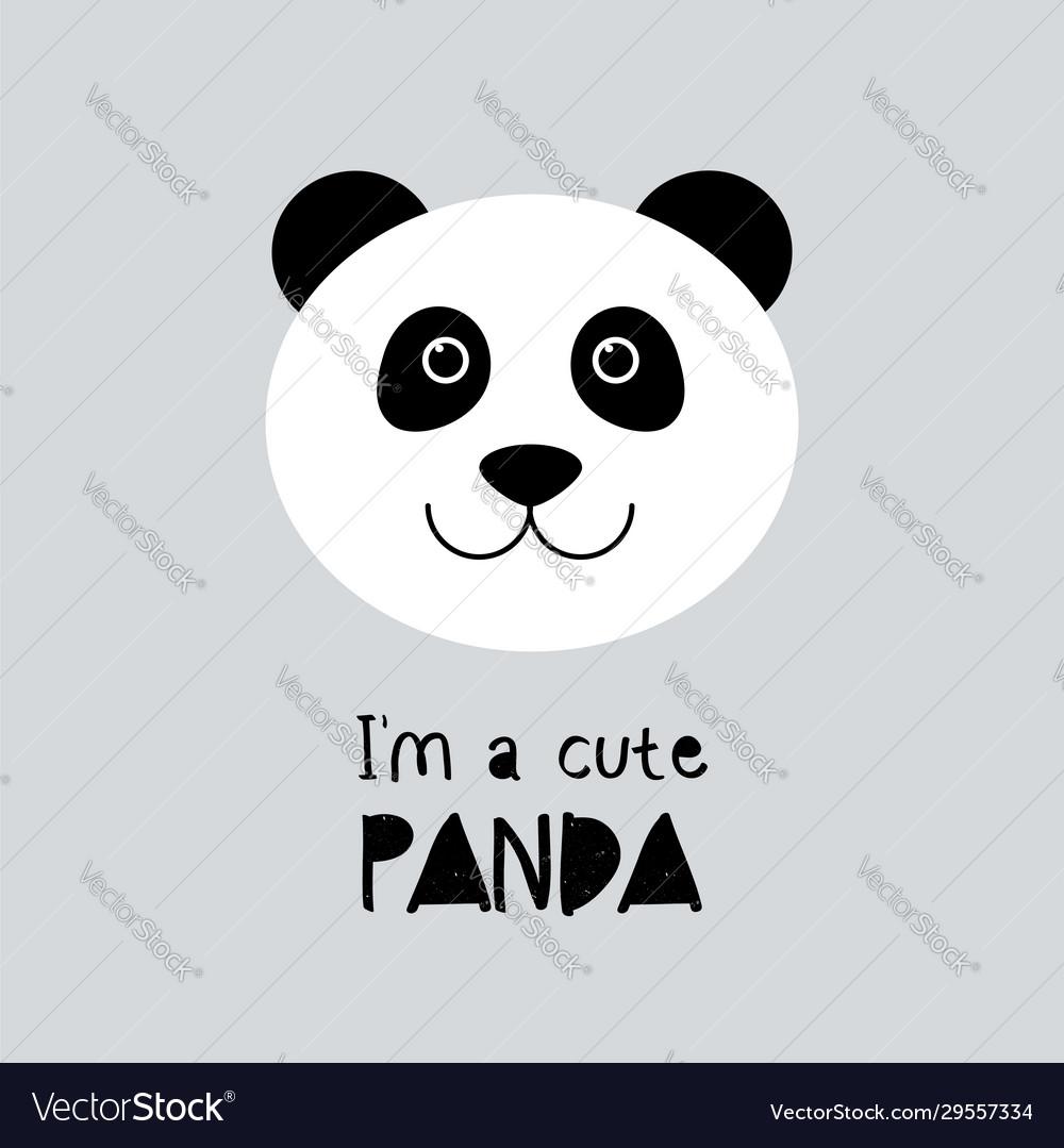 Cute panda cartoon animal face