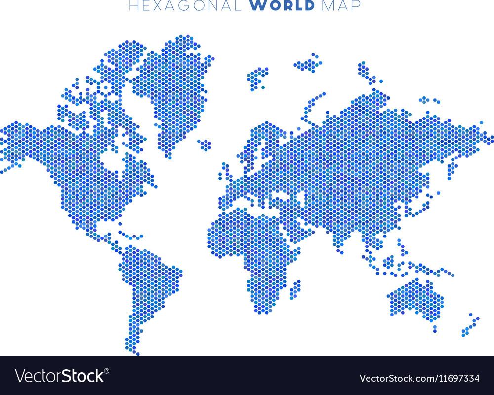 Hexagonal world map royalty free vector image vectorstock hexagonal world map vector image gumiabroncs Gallery