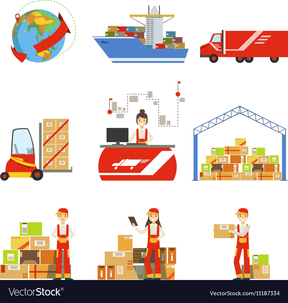Logistics And Delivery Process And Managers Set