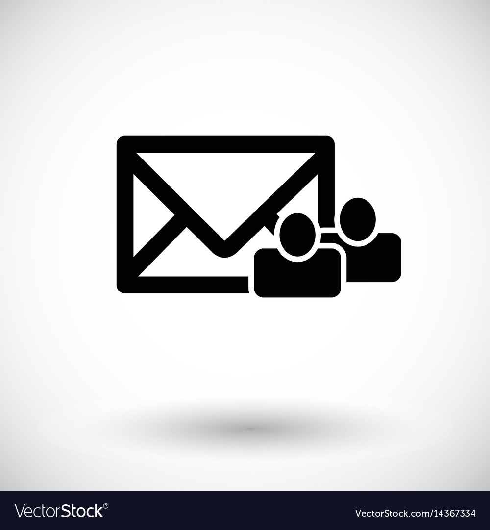 Mail with group of people flat icon vector image