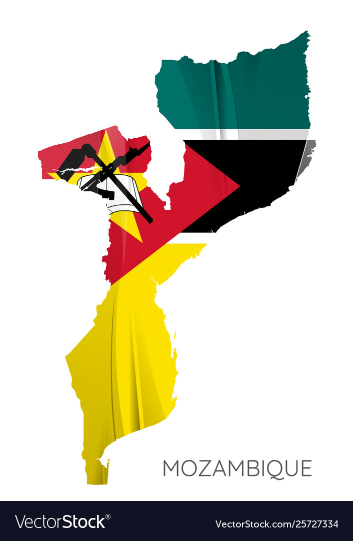 Map mozambique with flag