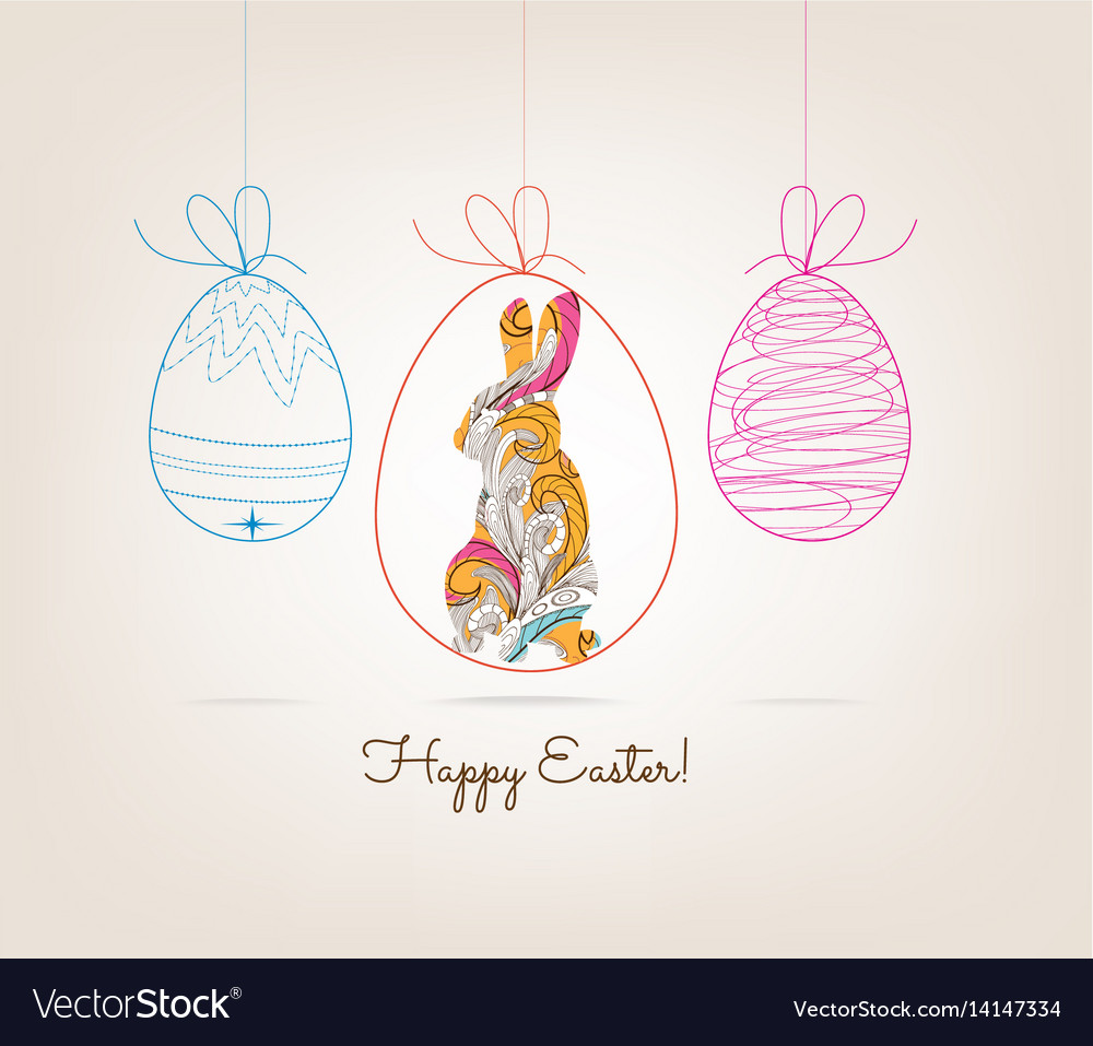 Ornamental doodle easter egg and bunny