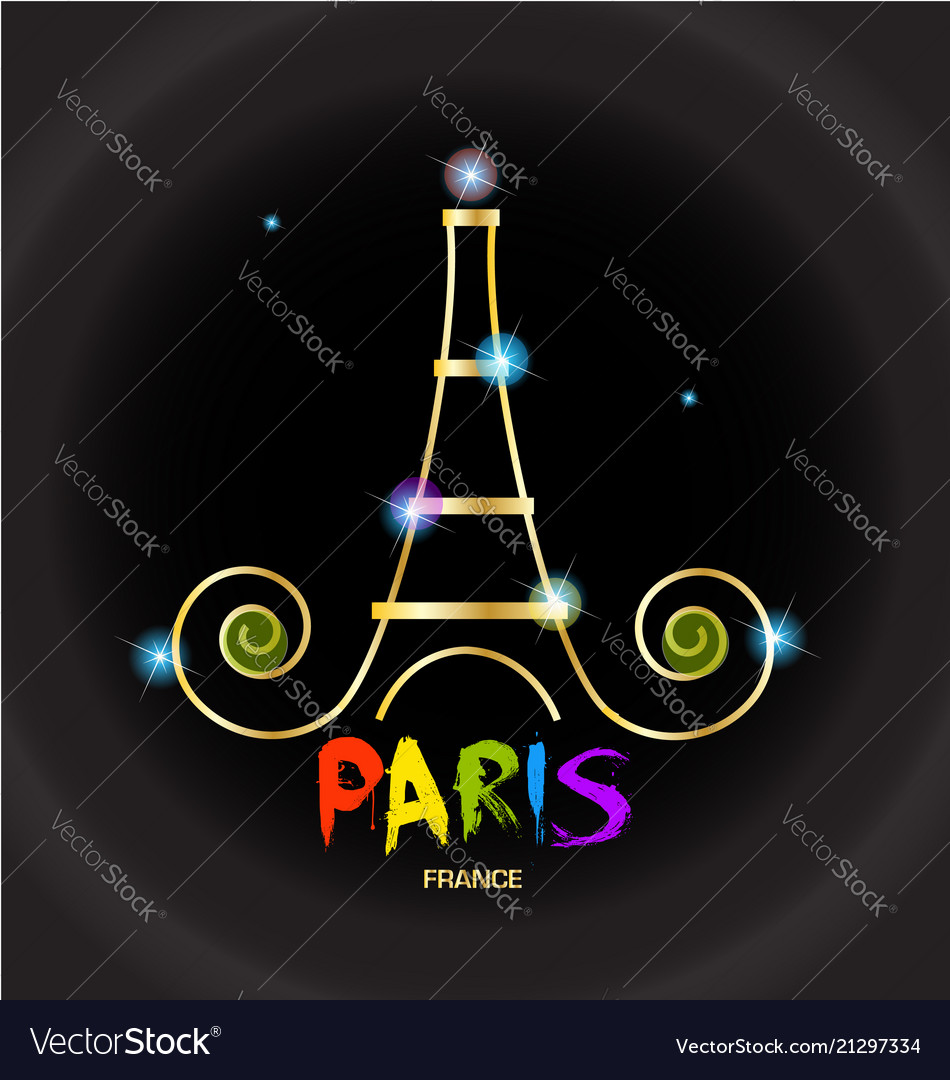 Paris eiffel tower black background logo
