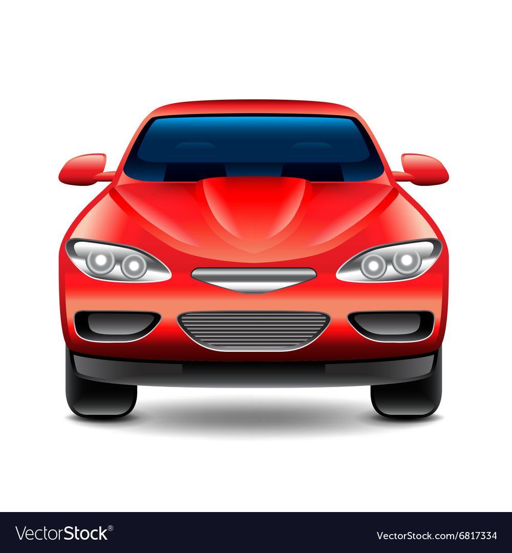Red Car Front View Isolated On White Royalty Free Vector