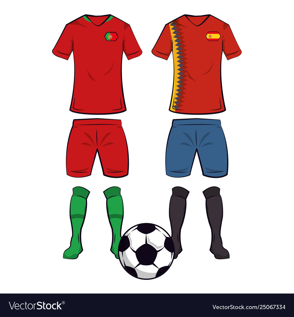 88558a52d1f Soccer team uniforms Royalty Free Vector Image