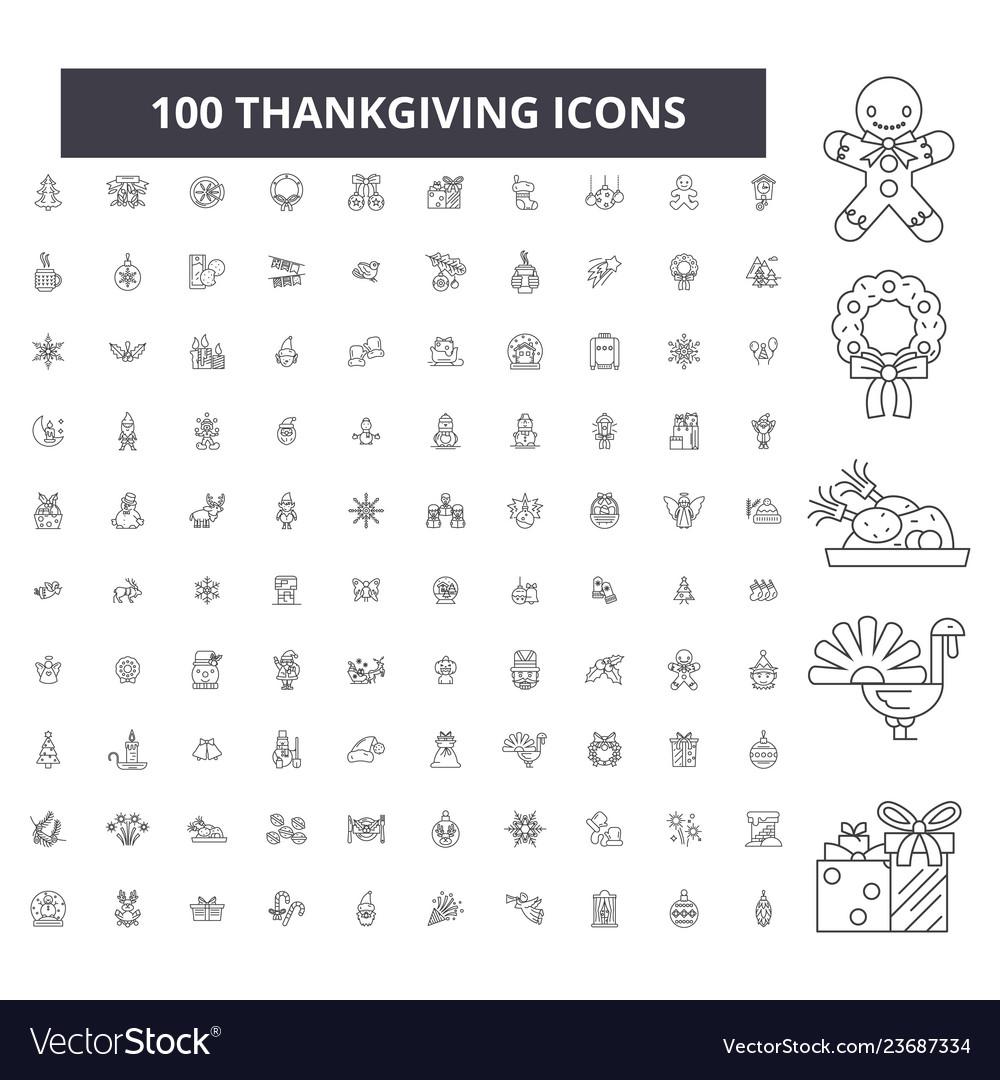 Thankgiving editable line icons 100 set
