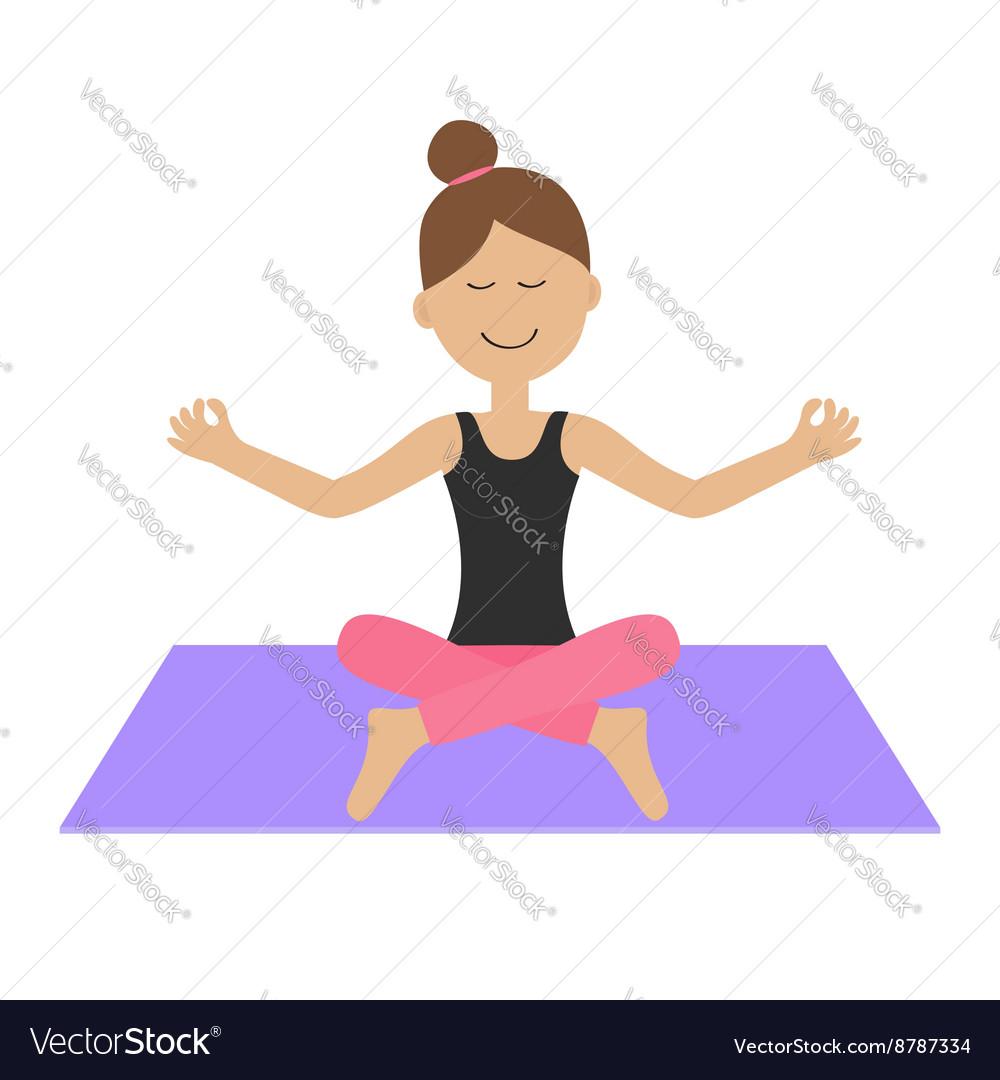 Young Girl Do Yoga Cute Cartoon Woman Character Vector Image