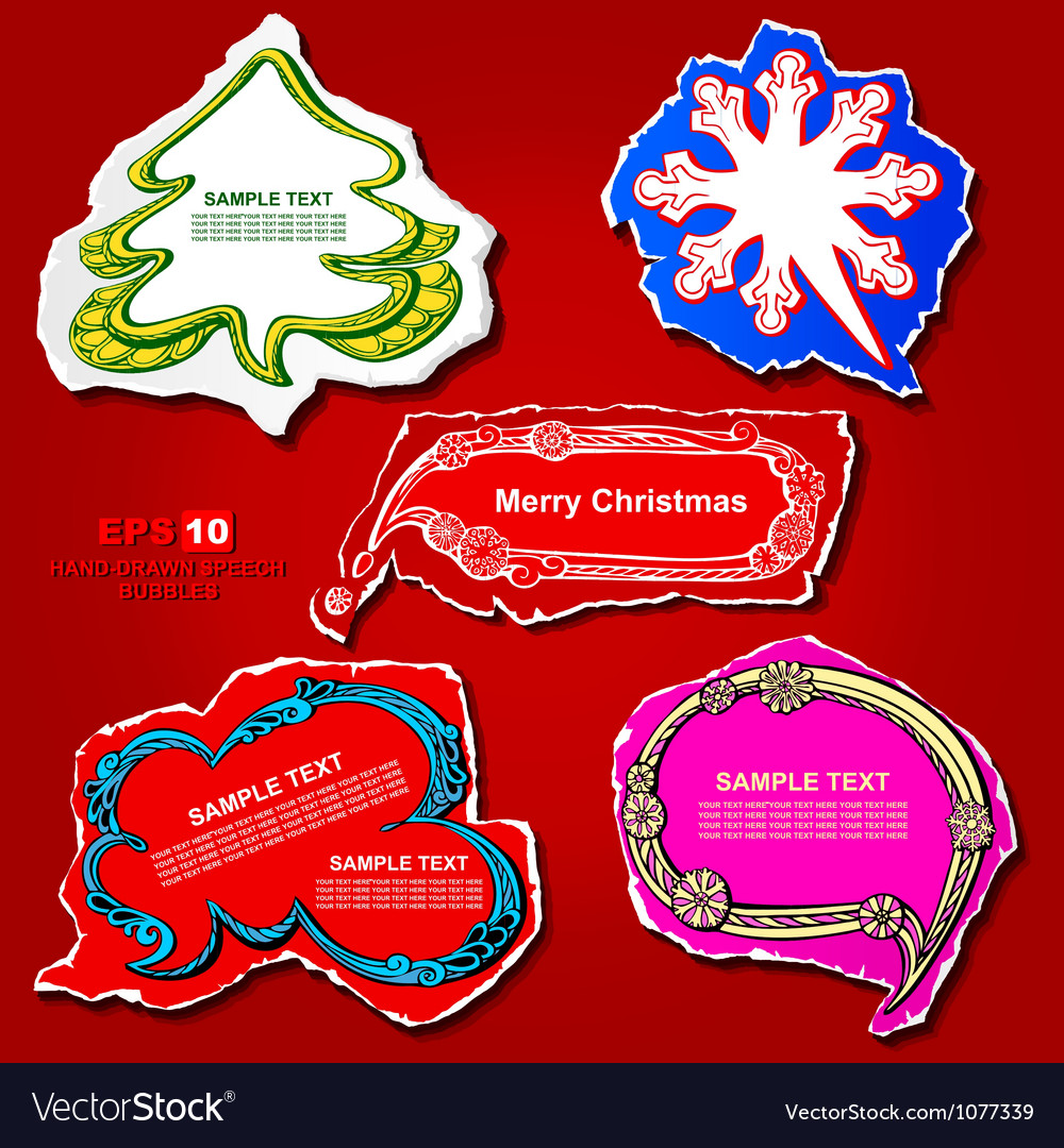 Christmas and New Year graphic speech bubbles
