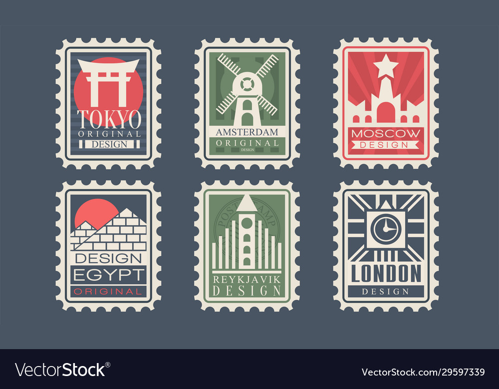 Collection city stamps from different countries