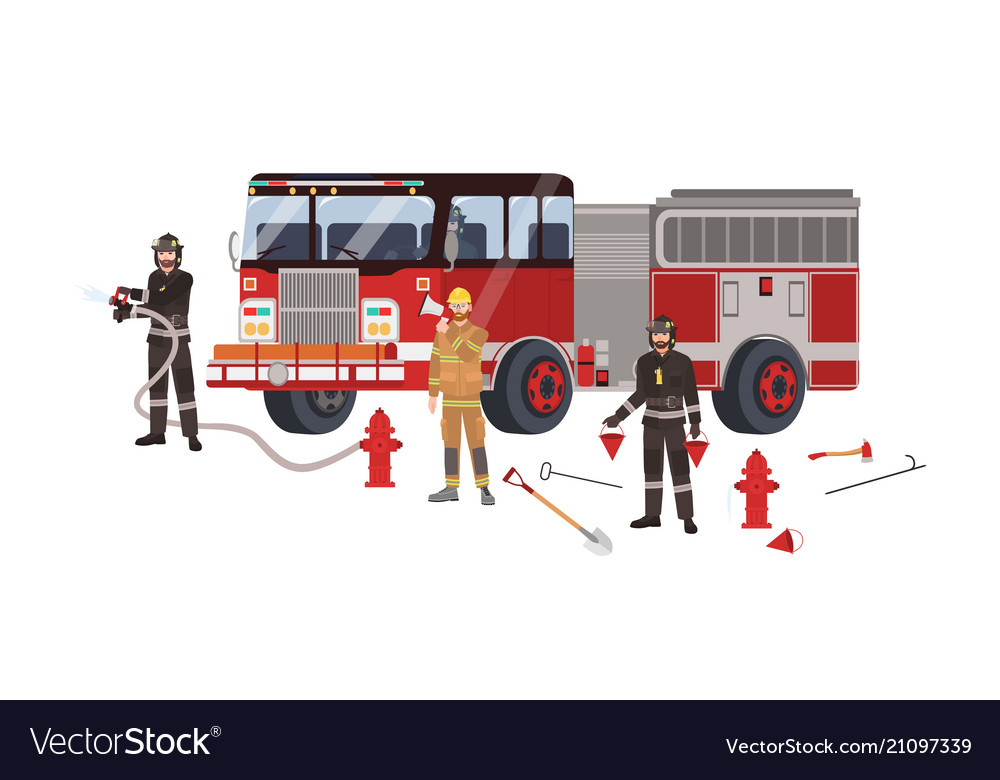 Firefighters or firemen wearing protective clothes