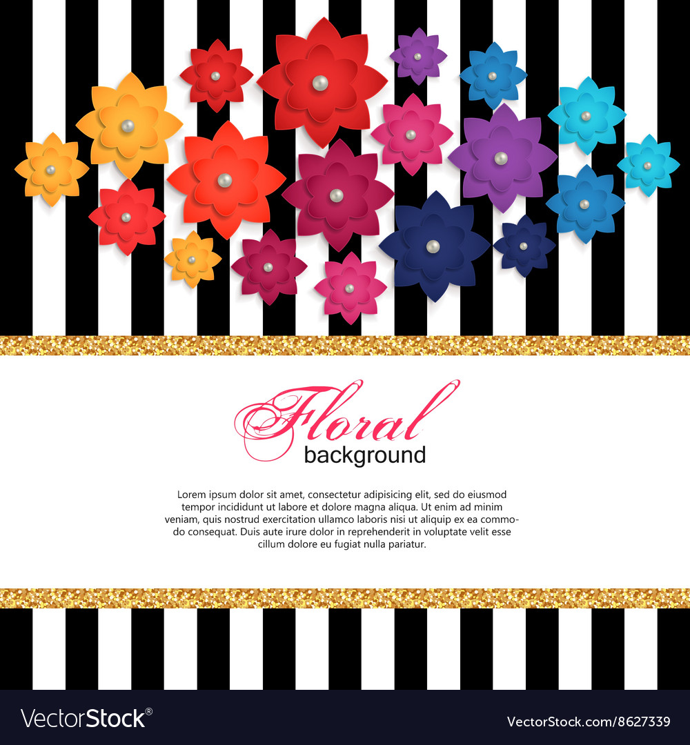 Floral greeting card with paper flower and gold