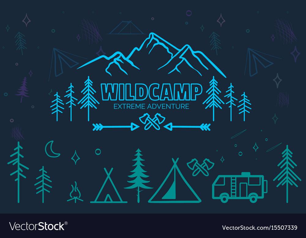 Hand drawn sketch camping icons set