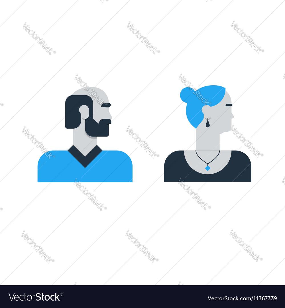 Man woman side view halfe face head old elderly vector image