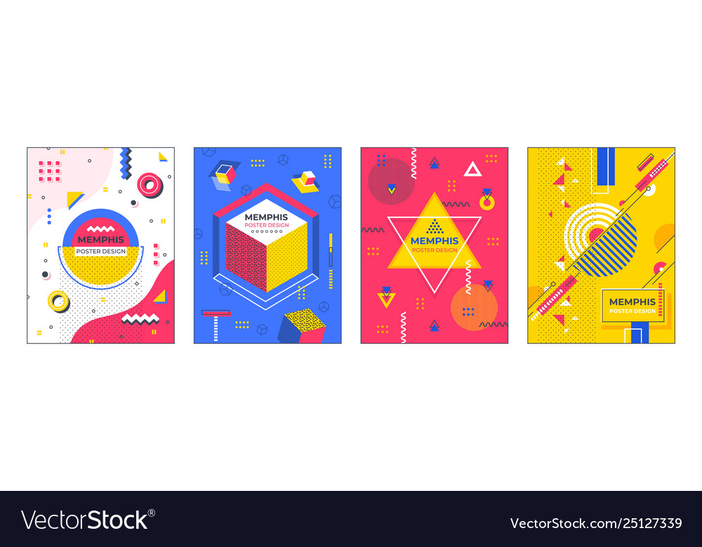 Modern abstract posters memphis geometric banners