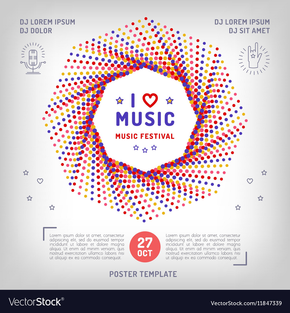 Music retro square banner poster or card