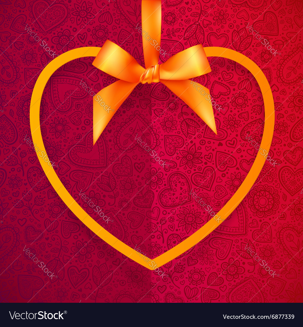 Orange heart shape frame hanging on silky ribbon