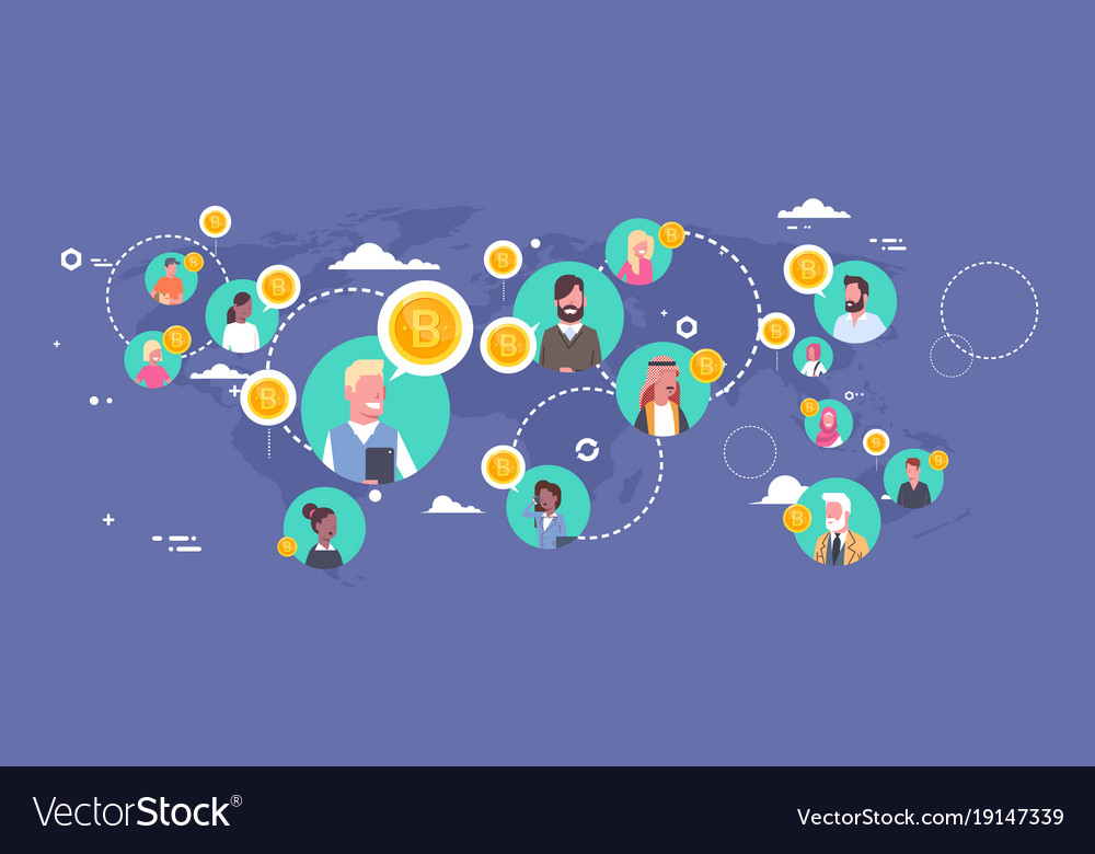 people buying bitcoins over world map modern vector image