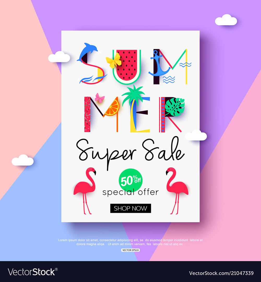 Summer sale flyer for online shopping