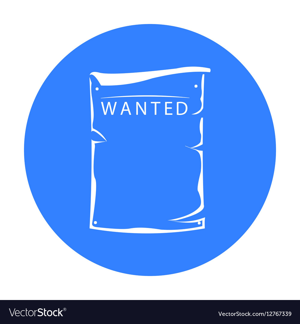 Wanted icon black Singe western icon from the vector image