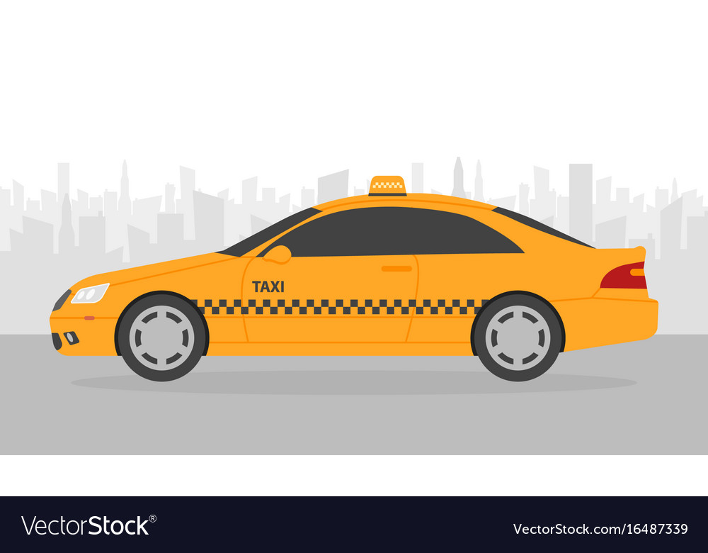 Yellow taxi car in front city silhouette in
