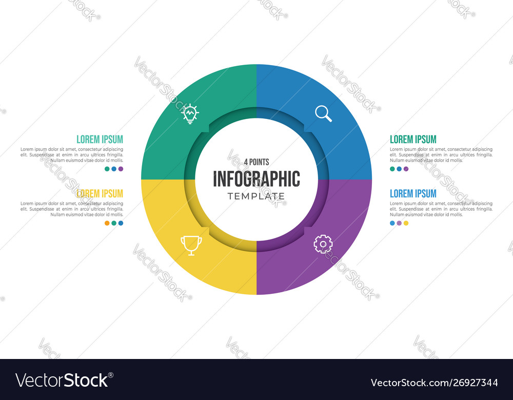 4 points circular infographic element template
